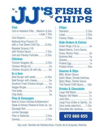 Fish and Chips in Duquesa Port - JJ's MenuMenu