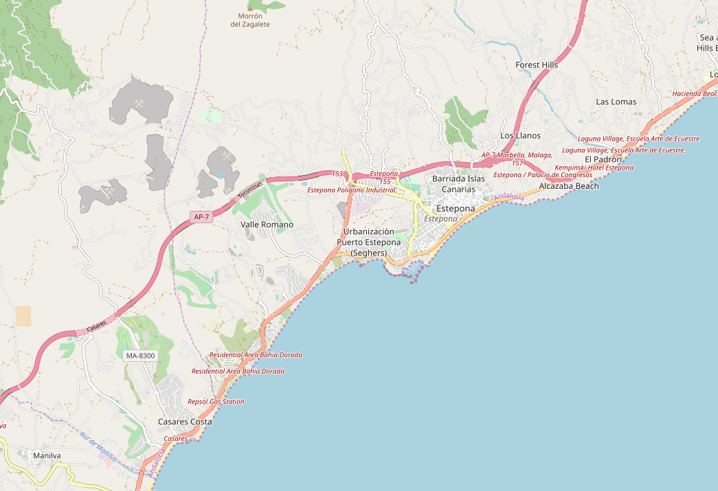 A map showing the area of Estepona. Estepona is the area between Casares and Nueva Andalucia.