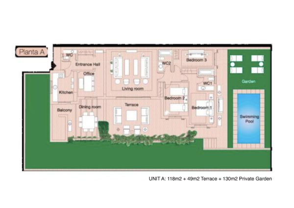 Type A 3 bed plan Herencia de Casares