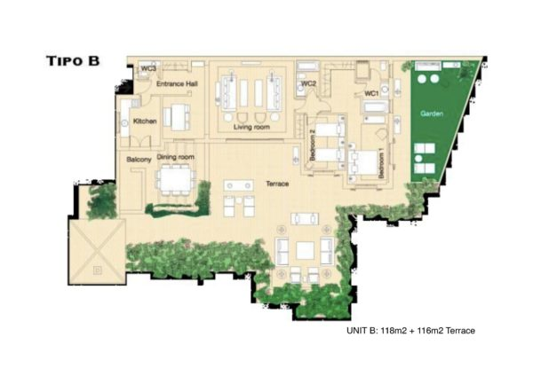 Type B 2 bed apartment plan Herencia de Casares