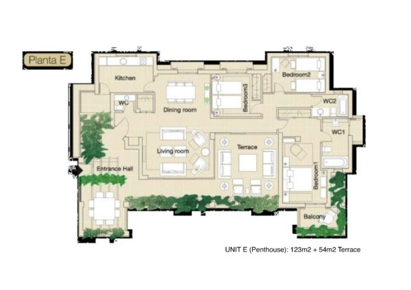Type E 3Bed penthouse plan Herencia de Casares
